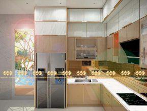 Mẫu 2: Tủ bếp inox mạ vàng sang trọng trang nhã