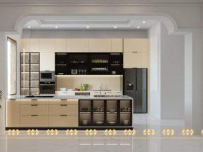 Mẫu 7: Tủ bếp kết hợp bàn đảo bếp tiện nghi